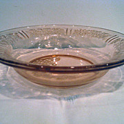Pink Sharon Cabbage Rose Depression Glass Flat Rim Soup Bowl