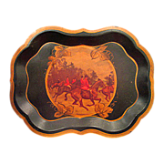 Hand Painted Hunt Scene Metal Tole Tray - Red Tag Sale Item