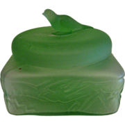 Square Green Depression Glass Bird Finial Covered Powder Jar