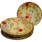 Four Hand Painted Limoges Soup Bowls