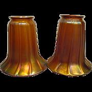 Two Aurene Signed Quezal Lamp Shades