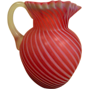 Pink Cranberry Satin Glass Swirl Pitcher with Applied Handle