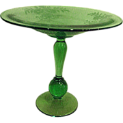 Tiffin Green  Floral Cut Elegant Depression Glass Footed Compote