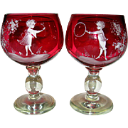 Pair Hand Blow Cranberry Mary Gregory Decorated Buttermilk Goblets
