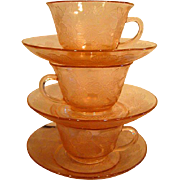 Three Pink Dogwood  Depression Glass Cups and Saucers