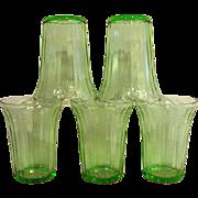 Five Green Cherry Blossom Depression Glass Flat Bottom Tumblers