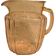 Pink Mayfair Open Rose Depression Glass 37 ounce Pitcher