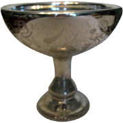 Antique Large Floral Etched Footed Mercury Glass Compote
