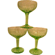 Three Green Cameo Ballerina Depression Glass Footed Wine Goblets