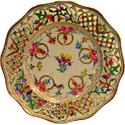 Hand Painted Dresden Pierced and Reticulated Floral Decorated Plate