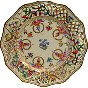 Hand Painted Dresden Floral Pierced and Reticulated Plate