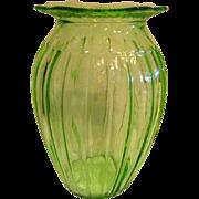 Green Adam Depression Glass Vase