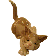 Lladro Crouching Brown and White Kitten, Cat Figurine