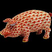 Handpainted Herend Fishnet Pig Figurine