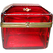 Hand Painted Cranberry Glass Jewelry Casket