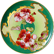 Hand Painted D'Arcy Geranium  Limoges Plate