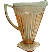 Pink Adam Depression Glass Square Foot Pitcher