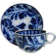 Hand Painted Flow Blue Brush stroke Cup and Saucer Spinach Design