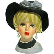 Great Napco Lady Head Vase with Hat, Pearl Earrings and Necklace