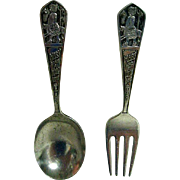 Sterling Silver Childs Mary Had a Little Lamb Fork and Spoon