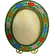 Italian Micro Mosaic Floral Oval Picture Frame