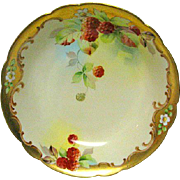 Hand Painted Artist Signed Pickard Limoges Raspberry Decorated Bowl