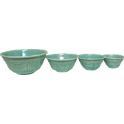 Set of Four Homer Laughlin Orange Tree Decorated Green Mixing Bowls