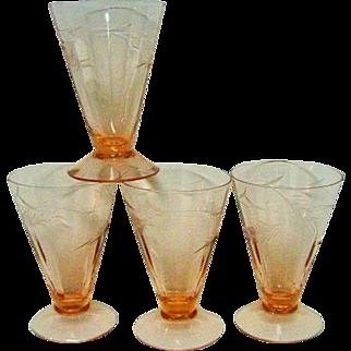 Four Pink Elegant Depression Glass Ice Tea Goblets with leaf design