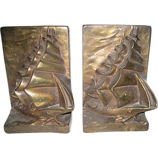 Hubley Cast Iron Sailing Ship Bookends