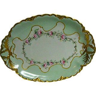 Large Hand Painted Rose decorated Porcelain Platter