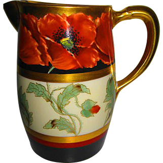 Stunning Hand Painted Pickard Pitcher with John Loh Poppies