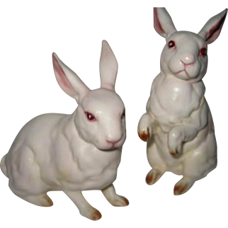 Two White Lefton Bunnies, one standing, one sitting