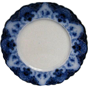 Wonderful Flow Blue Plate decorated with the Regent Design