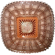 Pink Depression Glass Square Beaded Block plate