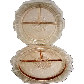 Two Pink Depression Glass Princess Two Handled Grill Plates