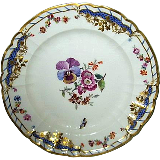 Hand Painted KPM Porcelain Plate with Pansies and Butterflies