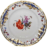 Hand Painted KPM Porcelain Plate with Carnations and Butterflies