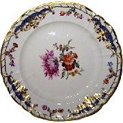 Hand Painted KPM Porcelain Plate with lovely purple Aster and gold trim