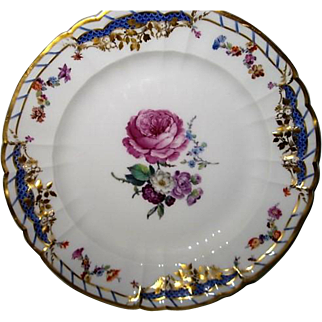 Stunning Hand Painted KPM Porcelain Plate with blooming Roses and flowers