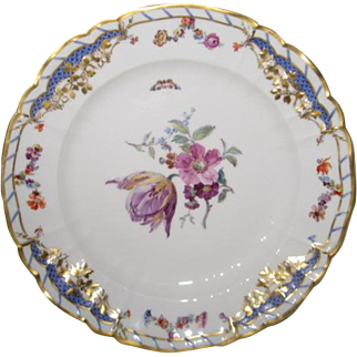 Stunning Hand Painted KPM Porcelain Plate with blooming flowers and flying butterflies