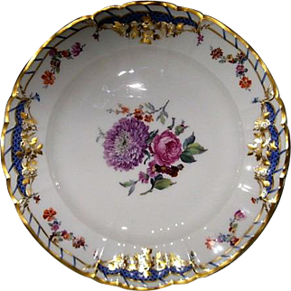 Hand Painted KPM Porcelain Plate with blooming flowers and gold gilt edging