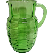 Green Block Optic Depression Glass Pitcher