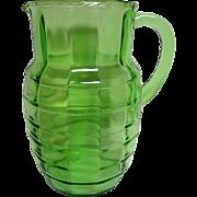 Green Block Optic Depression Glass Pitcher