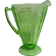 Green Cherry Blossom Footed Depression Glass Pitcher