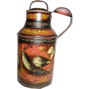 Hand Painted Folk Art Tole Metal Milk Can Container by W C Wrede