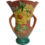 Roseville Peony Footed Pink Background Vase