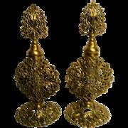 Pair of Italian Filigree Gold Metal Footed Perfume Bottles with Daubers