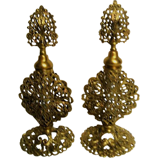 Pair of Italian Filigree Gold Metal Footed Perfume Bottles with Daubers