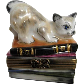 Hand Painted Limoges Box  of Cat kitten Sitting of Stack of Books