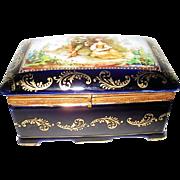 Hand Painted German Porcelain Large Romantic Trinket Box